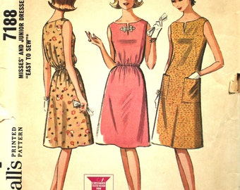 UNCUT 1960's  Sleeveless Dress with Front Slit Bust 30.5 - 31.5  Size Small 9 - 10 - 11 McCalls 7188