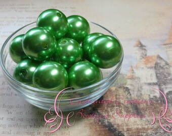 24mm Lime Green Acrylic Pearl Beads Qty 6