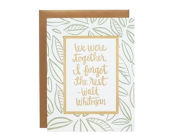 Every day Card - Greeting Card - Walt Whitman- Letterpress