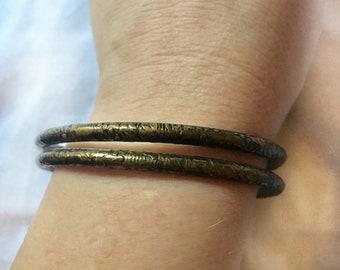 Brass Indian Bangles Six Interlocked Bracelets
