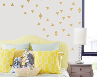 Gold Triangle Wall Decals - Pink and Gold Confetti Wall Decals -  Gold Triangle Wall Shapes -WBTRI