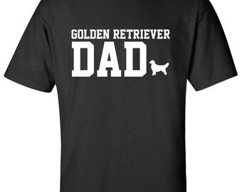 Golden Retriever Dog Dad Logo Graphic T Shirt