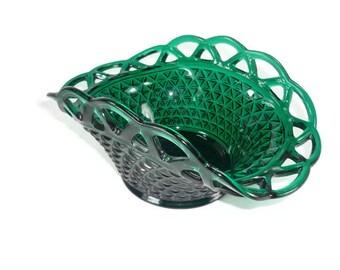 Imperial Katy 7498 Open Lace Edge  Glass Bowl Stiegel Green Vintage Glassware