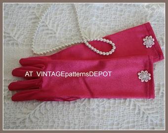 Girls Pink Gloves, Little Girls LONG Dark Pink Gloves, hot pink accessories, flower girl, princess, tea party, Easter, Church, 3 - 5/6 years