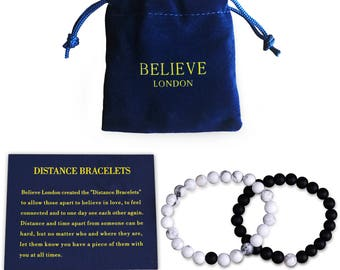 Long Distance Bracelets Relationship Friendship Couples His Hers Black Agate Onyx White Howlite Stones Healing Energy Strong Elastic 2pcs