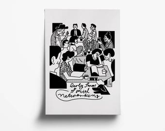 Early forms of social networking. Illustration. Black&White. Giclee print.