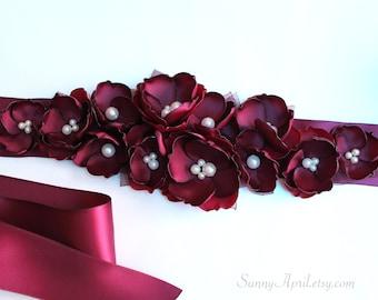 Burgundy Wine Wedding Sash/ Bridal Ribbon Sash/ Bridesmaids Sash/ Handmade Accessory