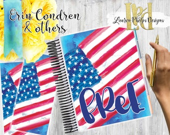 Planner Cover, Laminated 10mil, for use with, Erin Condren , Happy Planner, Summer, Watercolor, Floral, July 4th