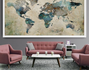 Push pin world map etsy extra large wall art push pin world map art print large wall decor abstract painting world map poster extra large art world map l35 gumiabroncs Gallery