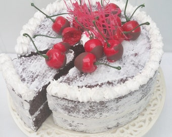 Semi-naked fake chocolate cake, display cake, cherry cake
