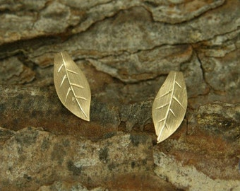 Earrings gold 750 /-, small autumn leaves