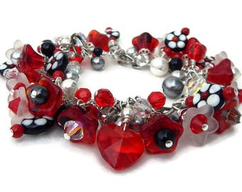 Swarovski Red Crystal Charm Bracelet, Red Crystal Heart, Lampwork Flower Beads,  Red Black and White, Red Glass Flowers, Flower Jewelry