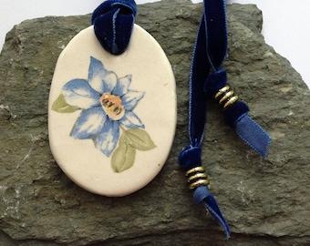Ceramic Blue Flower Pendant