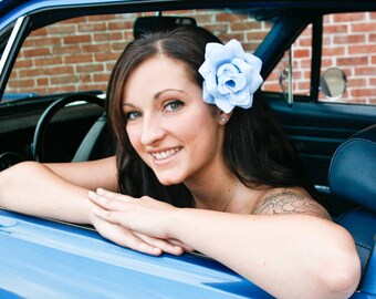 Light Blue Rose, Rose Hair Clip, Light Blue Pinup Rose Hair Clip, Baby Blue