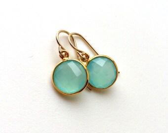 Aqua Chalcedony Gold Earrings, Dangle, Aqua Mint Chalcedony Earring, Gold Filled Wires, Aqua Delicate Earrings