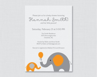 Elephant Baby Shower Invitation Printable or Printed Invite - Elephant Baby Shower Invites in Orange and Gray and Subtle Chevron Baby 0024-O