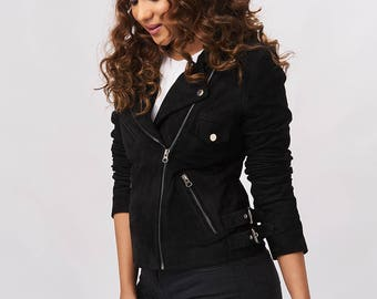 Suede Jacket - Charcoal Black