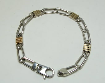 Attractive Sterling Silver with 18K Gold Highlights Two-tone Ladies Bracelet
