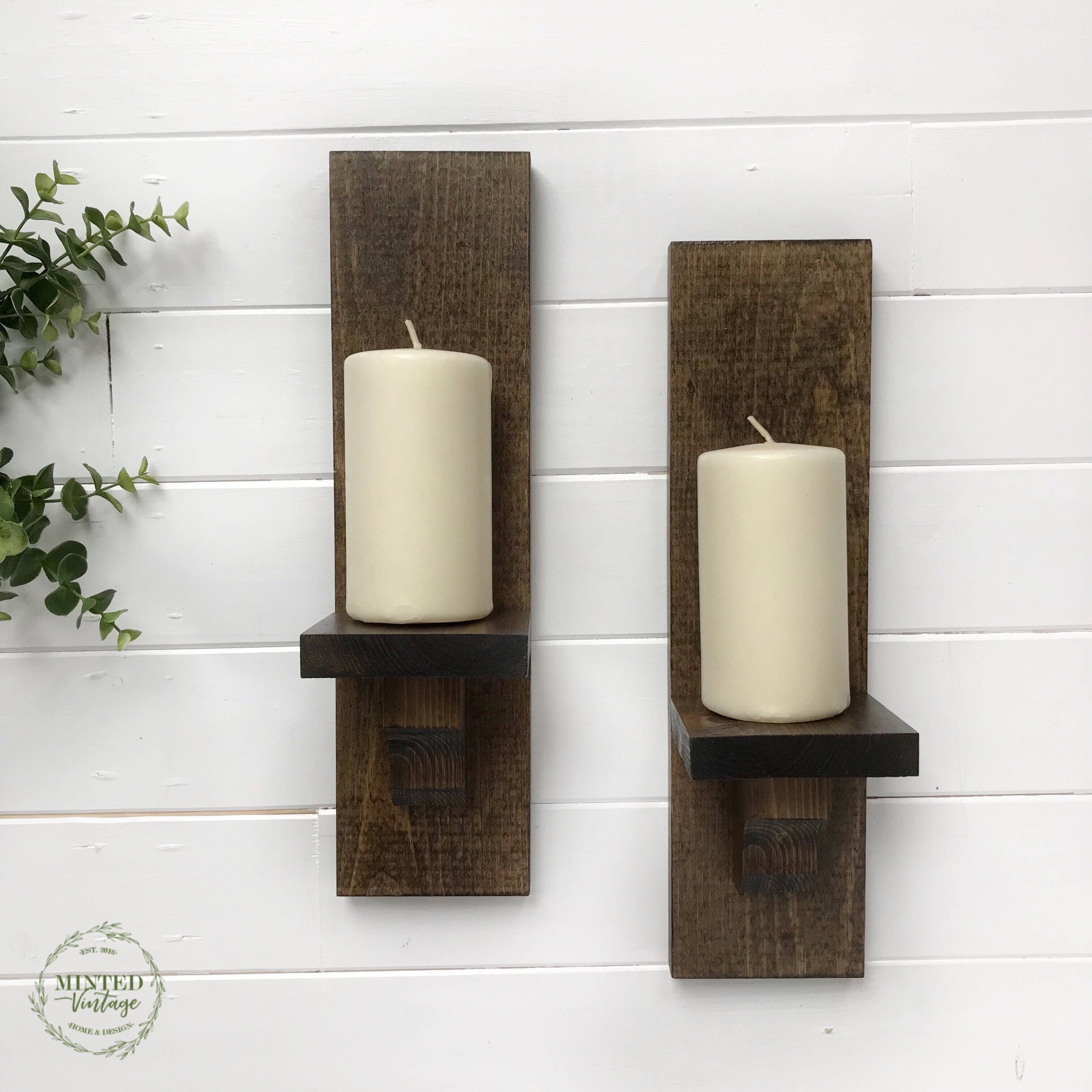 Wood Wall Sconces Set Of 2 Handmade Rustic Wall Decor In