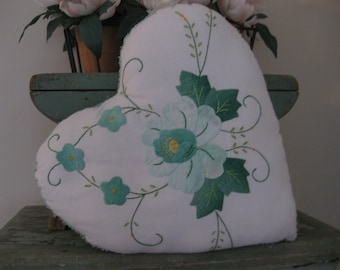 Handmade Vintage Chenille Fabric Valentine Heart Pillow For Your Sweetie