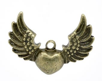 4 34x25mm bronze heart wing charms