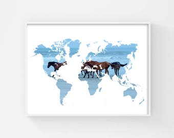 Prntable World Map, World Map Poster, Map of the World Map Art, Wild Horse Poster, Horse Gift, Horse Decor, Travel Poster, Horse Picture