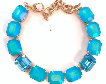 12x10mm Swarovski Crystal Octagon Rhinestone Bracelet, Blue Zircon Glacier Blue Pastel Aquamarine, Big Stones, Mothers Day, Gifts for Her
