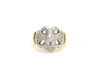 Vintage 14k Yellow Gold & Palladium Diamond 32 Degree Masonic Ring - Size 7.5