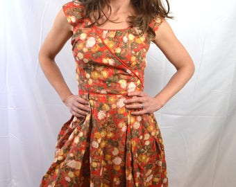 Vintage 1950s Pretty Red Cotton Floral Day Dress - XS