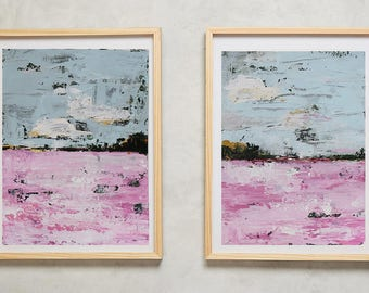abstract landscape, set of 2 painting,palette knife texture ,thick, heavy textured ,wedding present,rose,  '