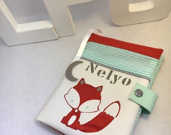 mint green and dark orange Fox health book personalized