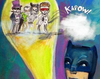 Holy print of wonder, Batman ... limited edition giclee art print • adam west • burt ward • robin • retro • superhero • cartoon • bat signal