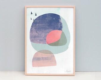 A3 or larger Abstract Print- Abstract Modern- Dark Circles 2 - Digital Art