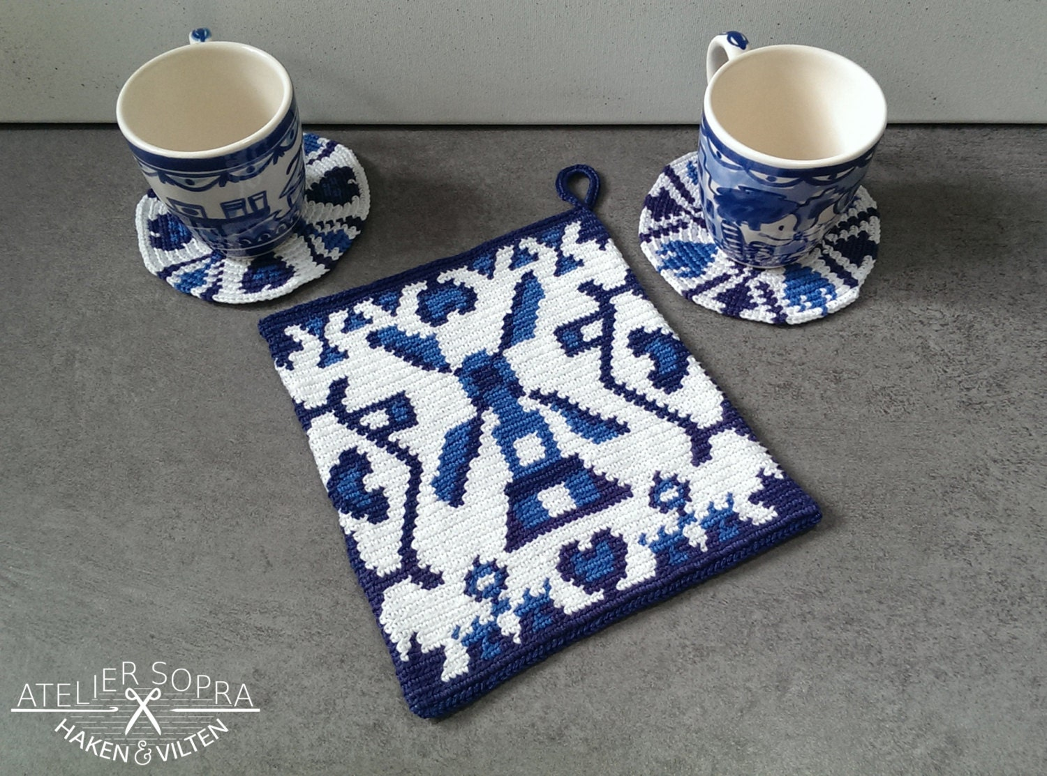 Tapestry Crochet Potholder Pattern Delft blue from AtelierSopra on ...