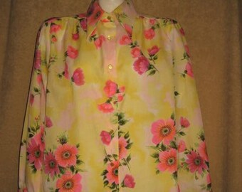 Womens Bright Floral Print Blouse Plus Size 70s Vintage