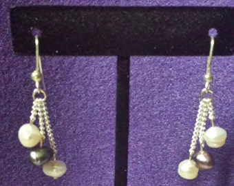 White And Purple Freshwater Pearl Drop Earrings, Handmade