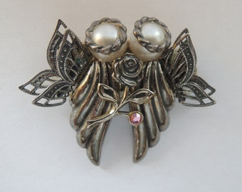 Victorian Revival Gothic Brooch Abstract Figural Vintage 1960s