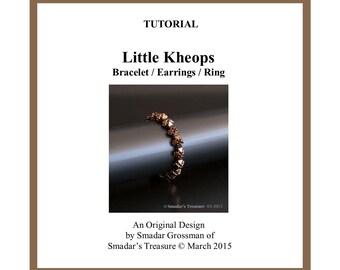 Beading Tutorial, Little Kheops Bracelet, Earrings and Ring. Beading Pattern with Kheops par Puca Beads. Beadweaving Bracelet Instructions