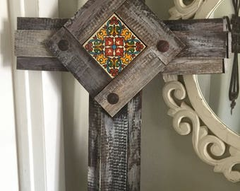 Large Recycled Barn Wood Cross Soanish Tile & Clavos