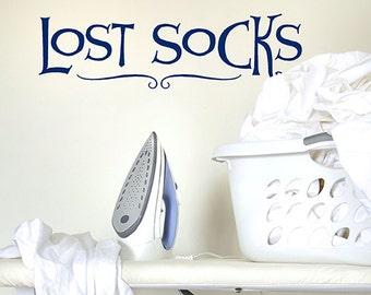 Lost Socks Vinyl Wall Decal Words, Launry decor, Laundry sticker