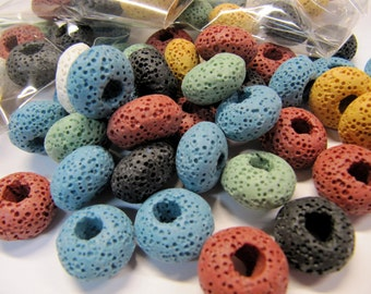 Lava Beads, Large Hole, All Natural, Multi Color, 15 X 9 MM, 12 PC, Use With Essential Oil, Diffuser Beads, Diffuser Pendant, Diffuser Balls