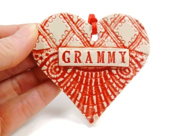 Grammy Ornament,Mother's Day Gift, Grandmother To Be,Gift for Grammy, Valentine Heart, Grandparent Gift, Pregnancy Reveal,Christmas Ornament