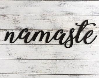 "Namaste - Script - 18"" Rusty Metal Script Sign"