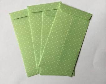 Set of 4 green envelopes, paper gift bags stars, fancy packaging