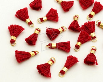 TA-027-GD / 6 pcs - Tiny Mini Tassel Pendant (Coral Red), Handmade Small Cotton Tassels, with Gold Plated Brass Ring / 12mm