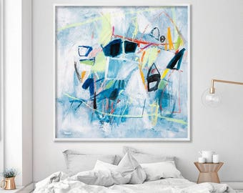 Modern wall art, large art print, large abstract print, contemporary art, light blue giclee print, fresh geometric art, Duealberi