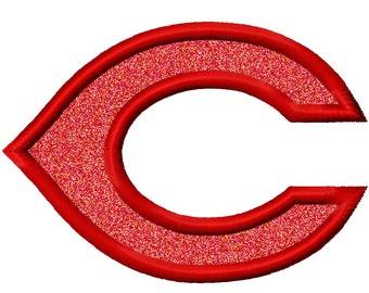 C Applique Embroidery Design 4x4 5x7 6x10 Reds Cincinnati INSTANT DOWNLOAD