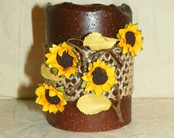 LED Flameless 4 Inch Primitive Textured Brown TIMER PILLAR Candles, Battery Operated, Night Light