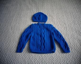 Irish stitch blue sweater with Cap - 18 months boy knitted hands
