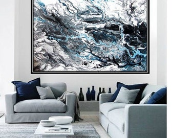 NOT A PRINT,Handmade Original Large Abstract Painting,Contemporary,Modern, Minimalistic Art,Black and White,Finnish art,Waves,Scandinavia